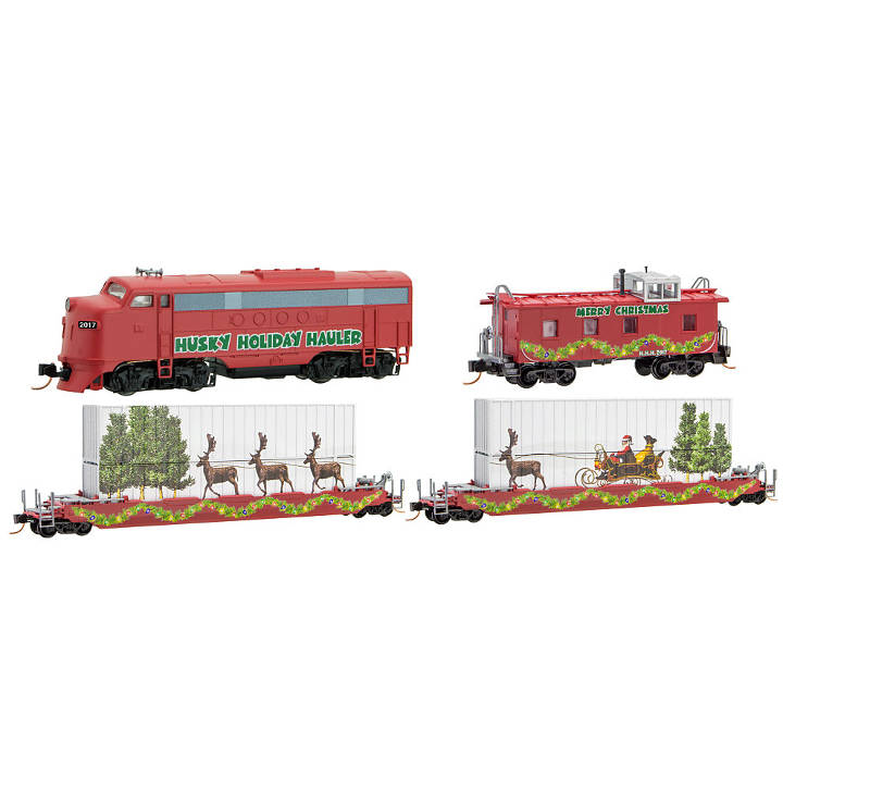 Christmas Train Set.N Scale Husky Holiday Hauler Christmas Train Set